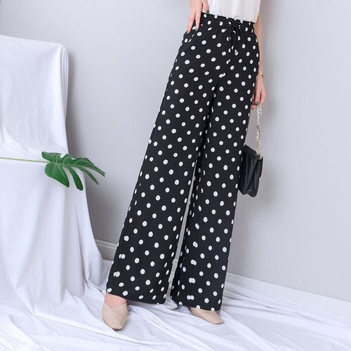 White Dot Wide Leg Pants Women 2019 Summer Casual Loose Elastic Waist Lace Up Trousers Streetwear Plus Size Palazzo Gothic Pants - thefashionique