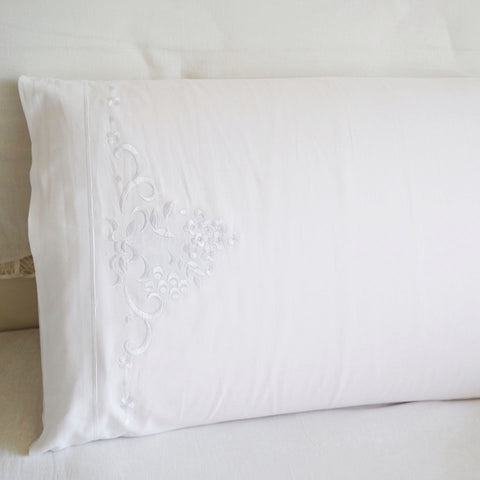 White Pillowcase Cotton Bed Embroidered Pillow Slip 100% Cotton 46x74cm