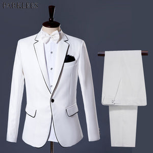 White Suit Blazer Men 2018 Brand New Wedding Groom Tuxedos Suit Men Party Stage Singer Prom 2 Piece Suit (Jacket+Pants+Bow) 2XL - thefashionique