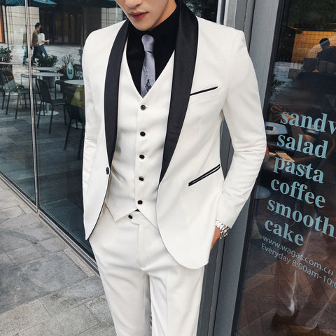 White Wedding Suits for Mens Suits Designers 2018 Costume Mariage Homme Vintage Groom Suits Business Italian Terno Singer Dress