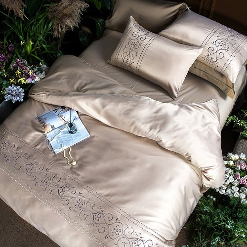 White Silver Cotton Imitate Silk Luxury Bedding Set Queen King Size Be