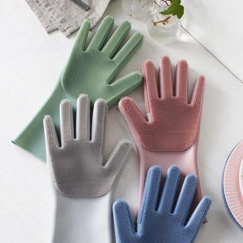 Wholesale 100 Pairs Magic Silicone Rubber Dish Washing Gloves Dusting Washing Pet Care Grooming Hair Car Insulated Kitchen Home - thefashionique