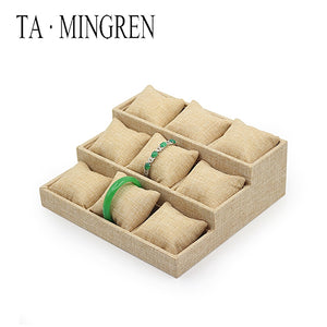 Wholesale Fashion Linen Display Jewelry Tray with Linen Pillow Cushion for Jewelry Bracelet Bangle