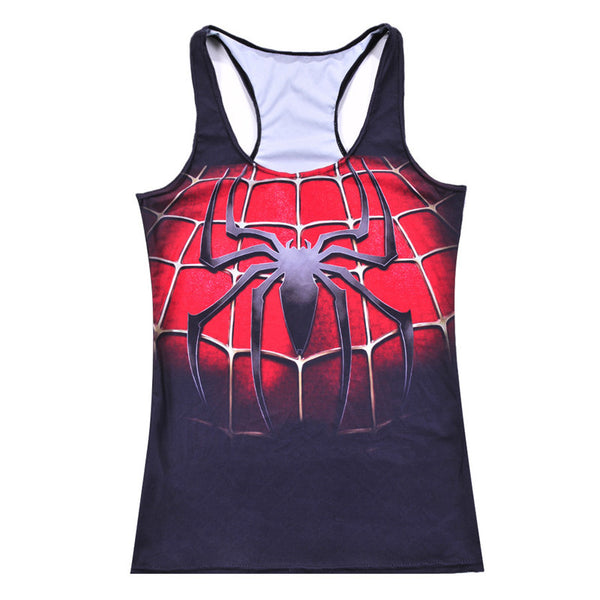 Wholesales Summer styles Sexy New Fashion women's Black Spider Network digital print Round neck sleeveless Tank Camisole - thefashionique