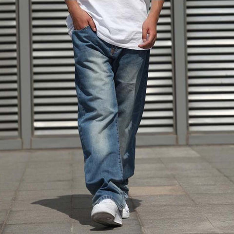 Wide Leg Mens Jeans Harem Hip Hop Denim Joggers Pants Skateboard Trousers