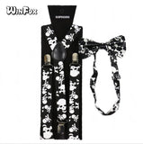 Winfox Vintage Black White 2.5cm Wide Skull Suspenders Bowtie Brace Women Men - thefashionique