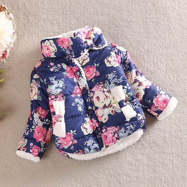 Winter Baby Girl Coat Floral Stand Collar Winter Long Sleeve Bow Coat Outerwear 2-6Y - thefashionique