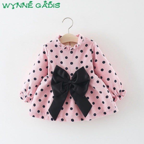 Winter Baby Girls Long Sleeve Polka Dot Print Thick Velvet Bow Princess Party Kids Infant Tutu Dress vestidos roupas de bebe - thefashionique