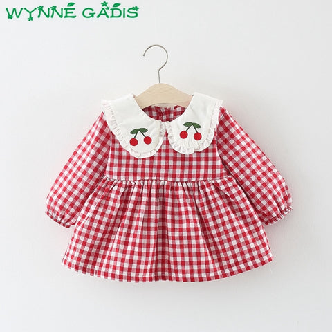 Winter Baby Girls Plaid Embroidery Cherry Doll Collar Thick Velvet Princess Party Kids Pleated Dress vestidos roupas de bebe