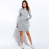 Winter Dress Women Vestidos Hoodies Sweatshirt Dress 2017 Fashion Hooded Drawstring Full Sleeves Fleeces Women Dresses Plus Size - thefashionique