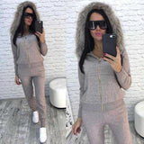 Winter Fur Hooded Sweater   Cashmere Pants Two-Piece Suits Woolen   Cashmere Knitted Warm Suit Casual Leisure Sweater Sets - thefashionique