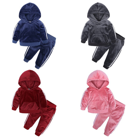 Winter Girls Clothes Sets Velvet Long Sleeved Hood Tops +Pants Sports Suits Costumes Warm Children Clothing Kids Suit XT-426 - thefashionique