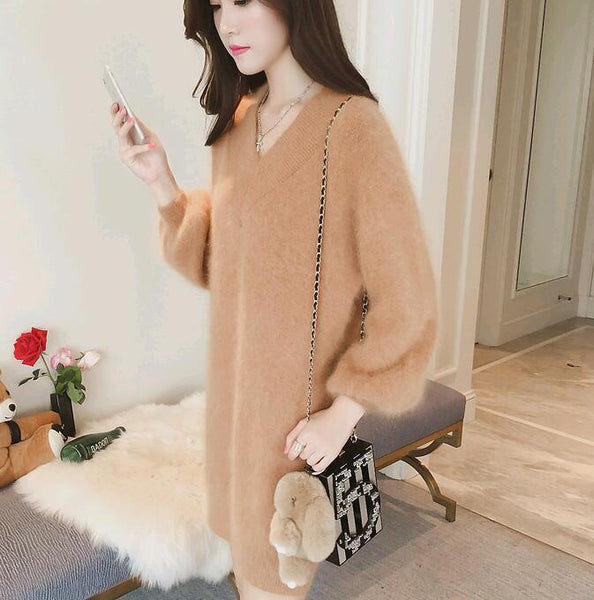 Winter Hippocampus Hair Dress Women Long Sleeve Fluffy Sweater Tops Bodycon Dress Ladies Party Jumper Office Lady Female Vestido - thefashionique