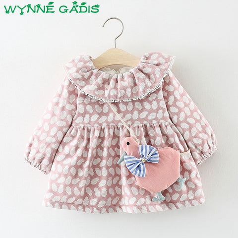 Winter Infant Girls Pineapple Print Tassel Collar Thick Velvet Princess Party Pleated Baby Kids Cute Dress with Bag vestidos