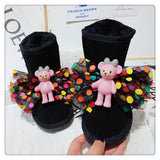 Winter Kids Snow Boots Baby Girls Bow Ankle Boots Toddler Warm Genuine Leather Shoes Women Brand Boots Fashion Slip On Boots New