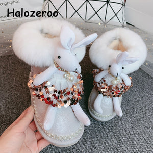 Winter Kids Snow Boots Baby Girls Rabbit Mid Calf Boots Toddler Genuine Leather Shoes Fur Brand Boots Rhinestone Slip On Boots
