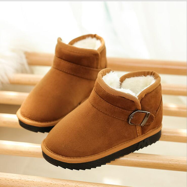 Kids Boys Girls Winter Lace-Up Chelsea Ankle Boots Flat Martin Shoes Size 8-11.5