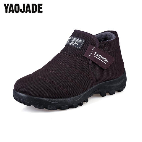 Winter Men's Ankle Boots Comfortable Increased Snow Boots Man Non-Slip Flats With Plush Men Warm Cotton Shoes