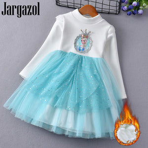 Winter Outfits Fleece Long Sleeve Princess Dress for Girls Icing Elsa Anna Sequins Bow Costume Autumn Party Birthday Dresses - thefashionique