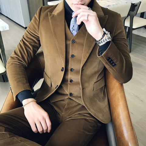 Winter Suits Mens 2017 Terno Masculino Slim Fit Khaki Tuxedo Mens British Style Mens Suits Wedding Groom Suits Formal Green