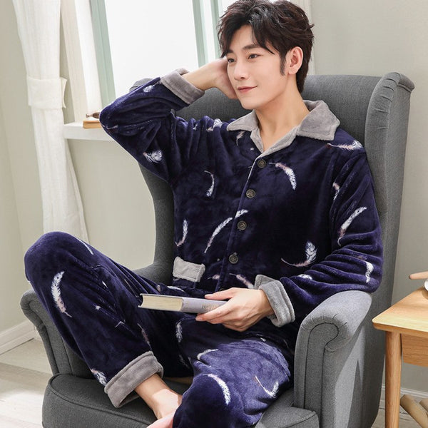 Winter Warm Men Pajama Sets Sleepcoat Trousers Pants Lounge Wear Men's Pyjamas & Nightwear Flannel Sleepwear Male Home Clothes - thefashionique