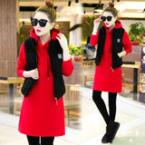 Winter new long fleece three-piece clothing set hoodies vest pants casual women clothesthickening natural big yards suit outfit - thefashionique