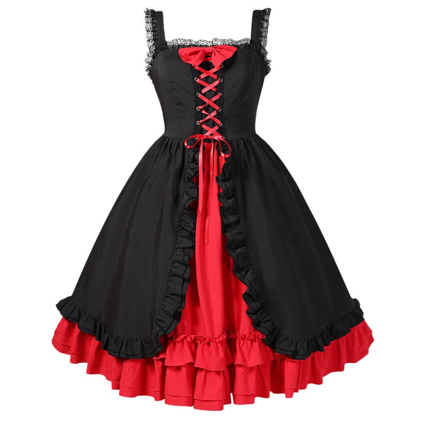 Wipalo 2018 Lace Up Layered Halloween Dress Women Vintage Party Dress Ruffled High Waist Vestidos Ladies Dresses 5XL Plus Size - thefashionique