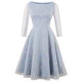 Wipalo Net Yarn Embroidery Party Dresses Women Hepburn Retro 50s 60s Rockabilly Robe Autumn A-Line Vintage Dresses Cotton Blue - thefashionique
