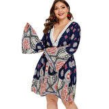 Wipalo Plus Size Women Floral Print Boho Dress Sexy V-Neck Flare Sleeves Casual Mini Dresses Spring Summer Beach Vestidos 5XL - thefashionique