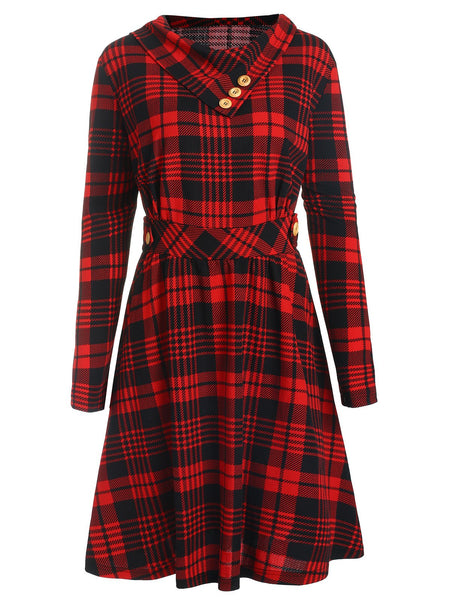Wipalo Plus Size Women Winter Dress Long Sleeve High Waist Hepburn 50s Pin Up Dress Girls Casual Plaid Vintage Party Vestidos - thefashionique