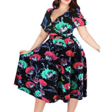 Wipalo Sexy Floral Print Vintage Dress Women Summer V-Neck Short Sleeves A-Lined Dress Pin Up Party Dresses Plus Size 3XL-9XL - thefashionique