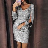 Wipalo Women Sexy Tassels Sleeve Sequin Party Dress Ladies Sparkly Night Club Bodycon Dress Spring V-neck Mini Dresses Vestido - thefashionique