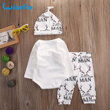 Wisefin 0-18Months Baby Outfits Boys 3Pcs Print Baby Clothing Sets Newborn Antlers Hat+Pant+Rompers Autumn Toddler Clothing - thefashionique