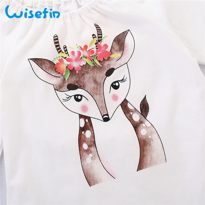 Wisefin Toddler Girl Autumn Clothes Skirt Set Deer Children Spring Outfits For Girl Long Sleeve Green Kids Girl Clothing 2018 - thefashionique