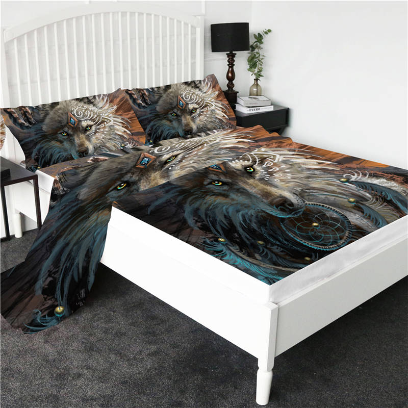 Wolf Warrior by SunimaArt Bed Sheet Set Wild Animal Bedspreads Wolf Dreamcatcher Flat Sheet Feather 3d Print Fitted Sheet 4pcs