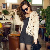 Woman Sequins Mohair hollow knitted cardigan sweater tassels jacket sequined Fashion short coat Open Stitch Streetwear - thefashionique