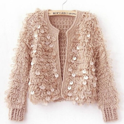 Woman Sequins Mohair hollow knitted cardigan sweater tassels jacket sequined Fashion short coat Open Stitch Streetwear