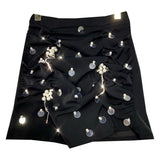 Woman Skirts 2020 Summer New Sequined Pearl Beaded Pleated Design Solid Color Skirt Package Hip Skirts Female Clothes Mini