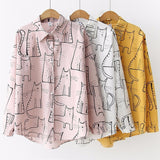 Women 2019 Fashion Turn Down Collar Long Sleeve Shirt Blouse Shirt Cute Cat Print Loose Casual Blosues Tops Ladies Blusa - thefashionique