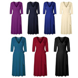 Women A-Line solid cotton dress summer casual sundress v-neck sexy holiday robe elegant party modal plus size office vestidos - thefashionique