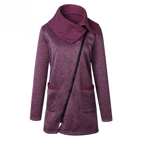Women Autumn Winter Warm Long Cardigan Sweater Jackets Ladies Side Zipper Knitted Outerwear Coat Top - thefashionique