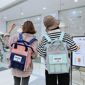 Women Backpacks Preppy Style School Bags For Teenager Girls Large Capacity Fresh Student Bookbag Shoulder Top-handle Canvas Bags - thefashionique