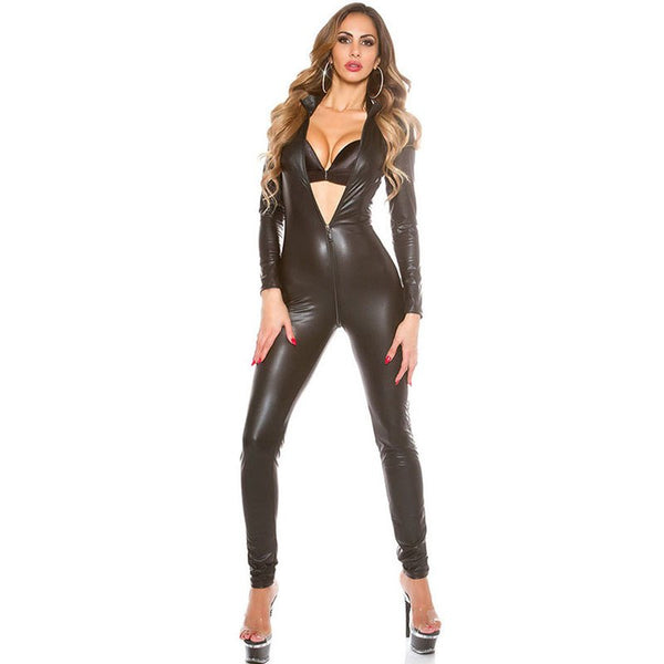 Women Black Red Solid Sexy Bodysuit Vinyl Latex Leather Catsuit Zipper Open Crotch Bodycon Playsuit Clubwear Wetlook Costume XXL - thefashionique