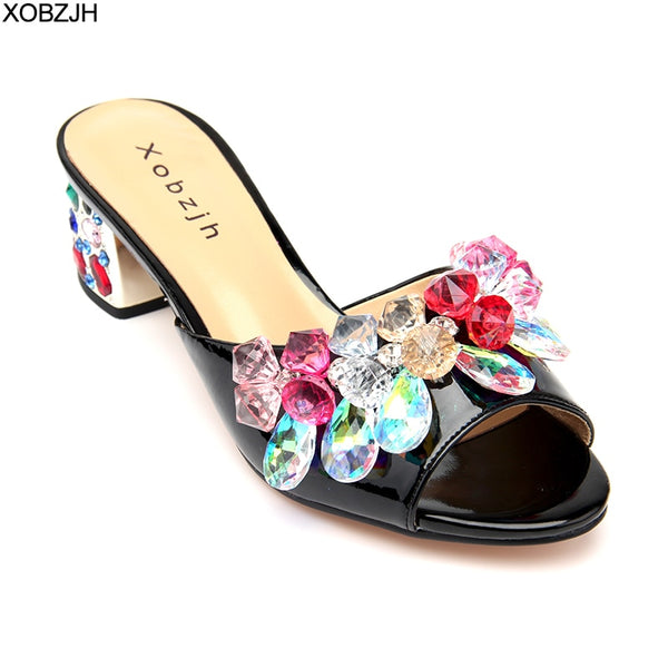 Women Block Heels Summer Sandals 2019 Open Toe Luxury Leather Ladies Rhinestone Flower Wedding Praty Black Shoes Woman Plus Size - thefashionique