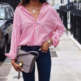 Women Blouse plus size 2018 Summer Women Tops sexy casual loose vertical stripes long sleeve blouse shirt blusa feminina Vestido - thefashionique