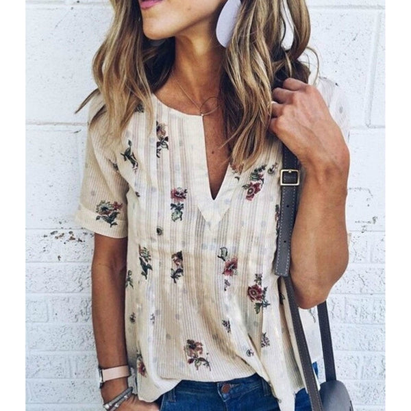 Women Blouses Shirts 2017 Summer Elegant Sleeveless Flowe Print Shirt Ladies Tops Plus Size Female Clothing - thefashionique