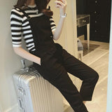 Women Cacual Suit Round Neck Stripe Shirt and Suspender Trousers Jumpsuit Good Quality Breathable Female Fashion T-shirt Suit - thefashionique