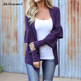Women Cardigan Autumn winter Long Sleeve Irregular Long purple Thin Sweater Loose Ladies Coat Slim Elegant Outerwear Tops - thefashionique
