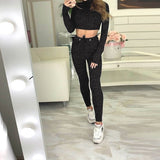 Women Casual 2 Pieces Set Black Knitted Cropped Top And Pants Set Fashion Female Winter Long Sleeve O Neck Slim Top Shirt Set - thefashionique