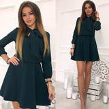 Women Casual A-Line Mini Dress 2018 Spring Three Quarter Solid 0 Neck Bow Sexy Party Dress Women Vintage Club Dresses - thefashionique
